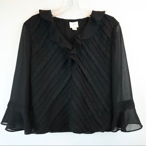 Black Ruffle Blouse with Bell Sleeves- Emma James